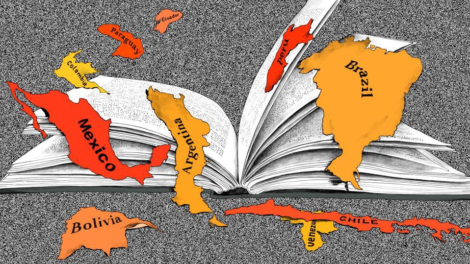image of a book with countries around it from website https://qz.com/430787/these-are-the-latin-american-authors-you-should-be-reading-this-summer/