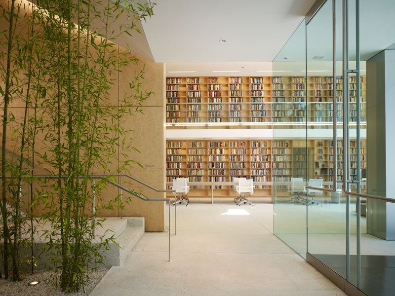 Image of hallway leading to bookshelves at Nat'l Poetry Foundation